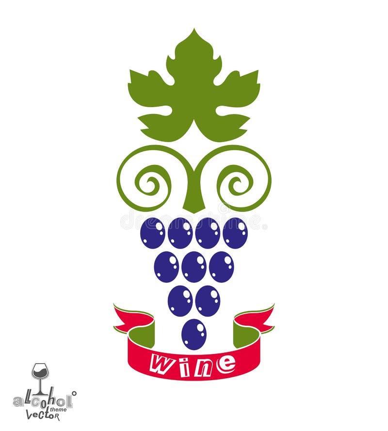Стилизованная иллюстрация вектора виноградной лозы Символ винодельни иллюстрация вектора