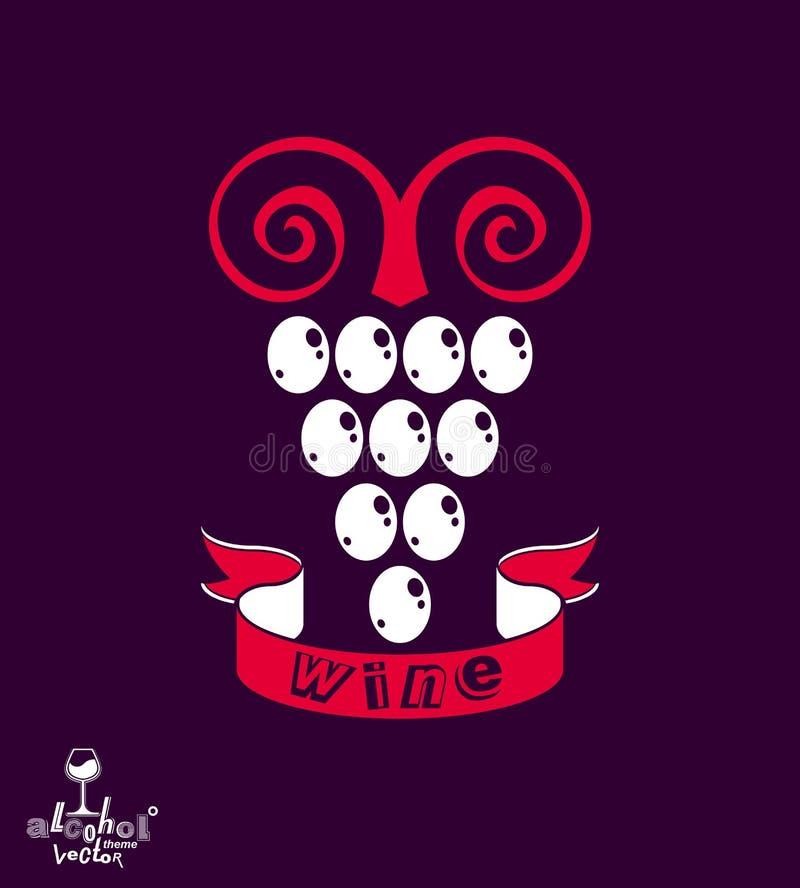 Стилизованная иллюстрация вектора виноградной лозы Символ винодельни иллюстрация штока