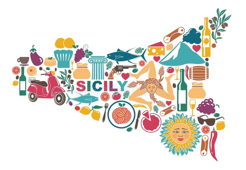 Стилизованная карта Сицилии с традиционными символами иллюстрация штока
