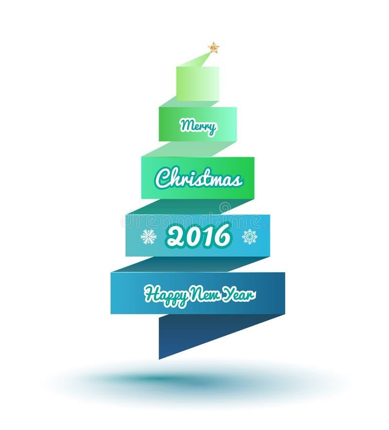 Стилизованная рождественская елка 2016 ленты с звездой золота бесплатная иллюстрация