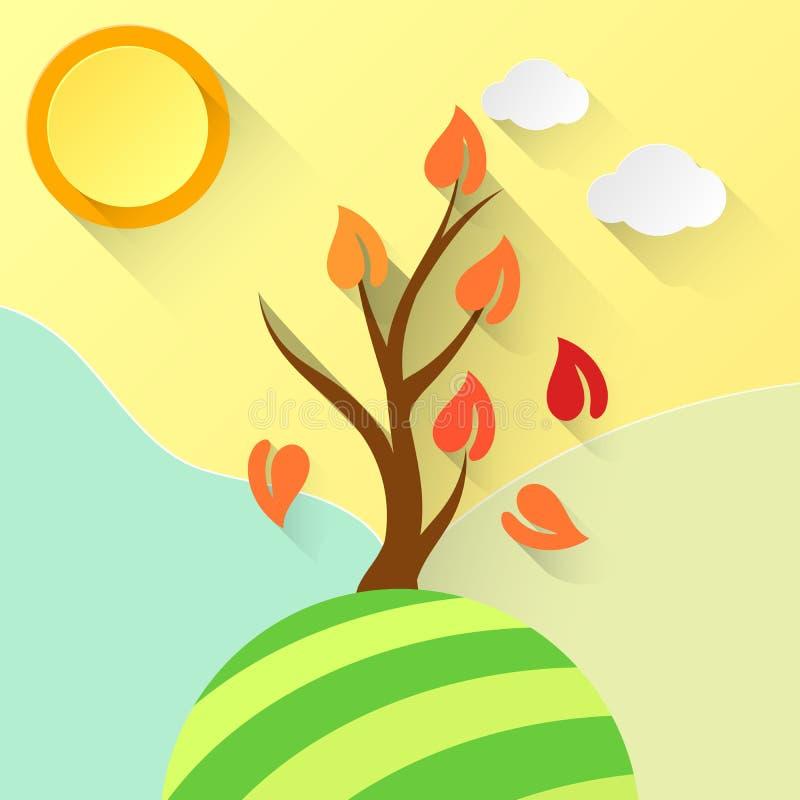 Стилизованное дерево и лист вектора иллюстрация штока