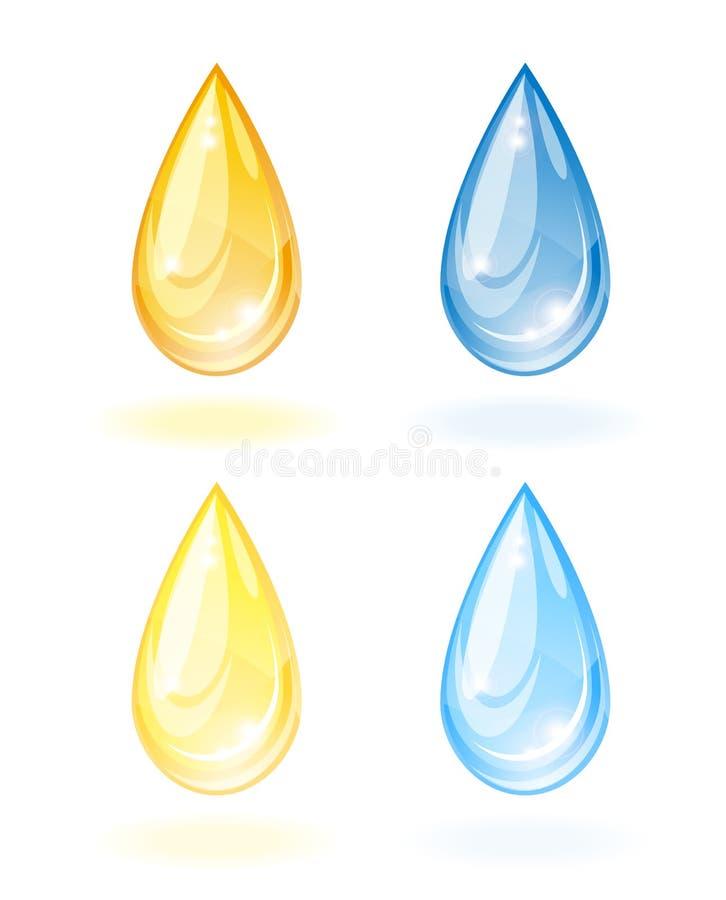 Стилизованное падение масла и воды. иллюстрация вектора