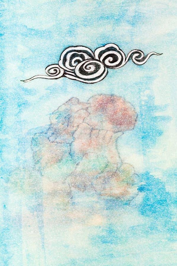 Стилизованное серое облако под утесом иллюстрация вектора