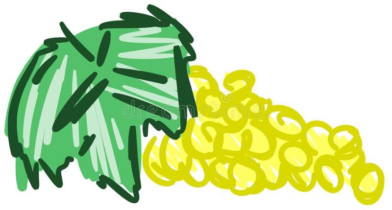 Стилизованные желтые виноградины в абстрактном составе иллюстрация вектора