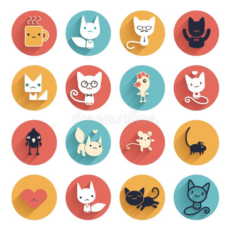 Стилизованные милые животные Часть 2 бесплатная иллюстрация