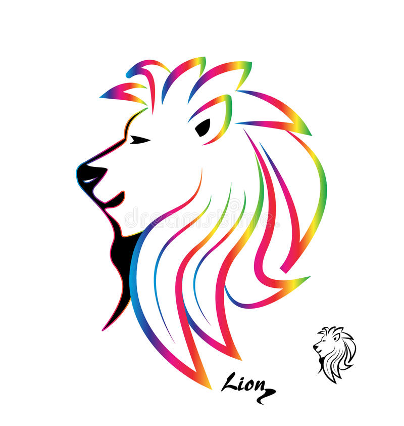 Стилизованный красочный силуэт головы льва иллюстрация вектора