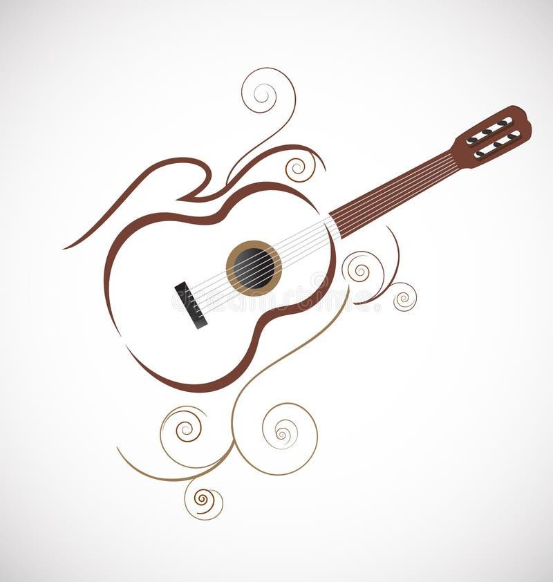 Стилизованный логотип гитары бесплатная иллюстрация