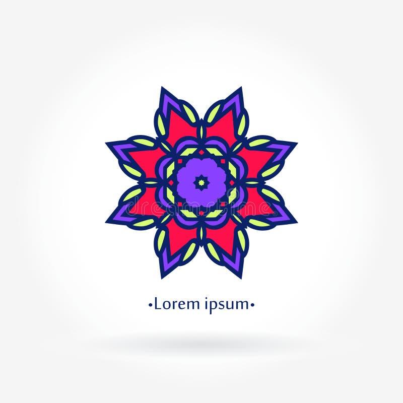 Стилизованный логотип цветка для цветочного магазина мандала лепестки Большой яркий бутон щедрот иллюстрация штока