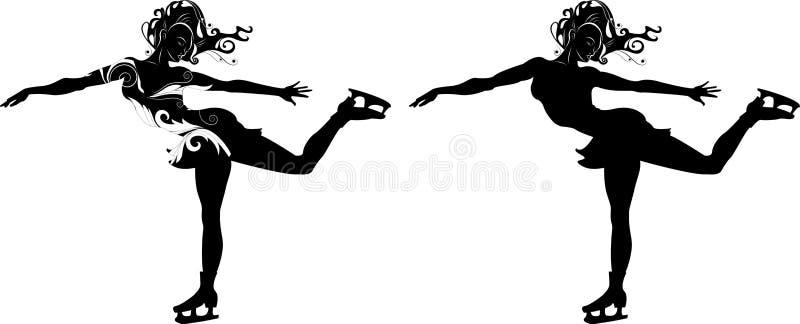 Стилизованный силуэт девушки на коньках иллюстрация вектора