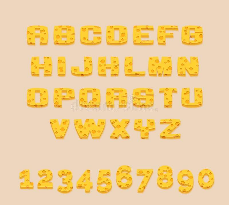 Стилизованный yummy желтый алфавит и числа abc швейцарского сыра вектора Используйте письма для того чтобы сделать ваш собственны иллюстрация вектора
