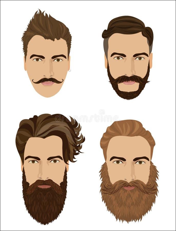 Стили волос и бород человека Иллюстрация вектора моды битника высокая детальная иллюстрация штока