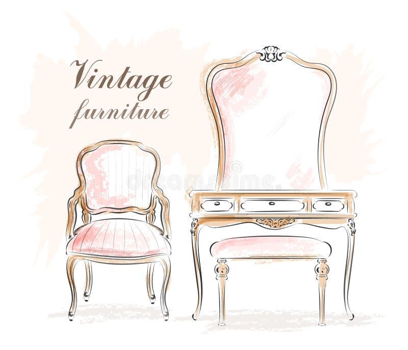 Стильная винтажная мебель: таблица шлихты с зеркалом и стульями эскиз иллюстрация штока