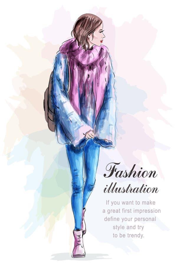Стильная женщина в моде одевает с рюкзаком и шарфом эскиз иллюстрация штока