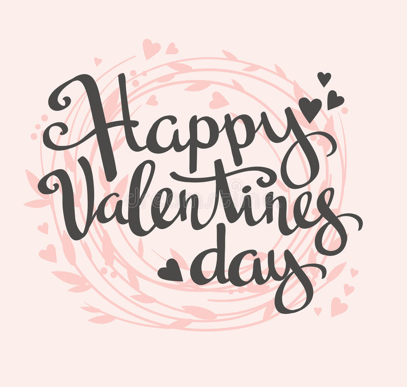 Стильная карточка влюбленности с флористическим венком Вектор помечая буквами счастливый день валентинки бесплатная иллюстрация
