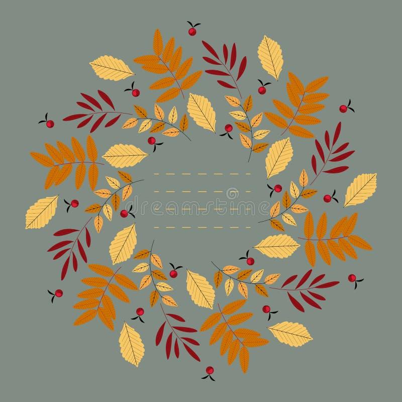 Стильная круглая рамка с декоративными листьями осени иллюстрация штока