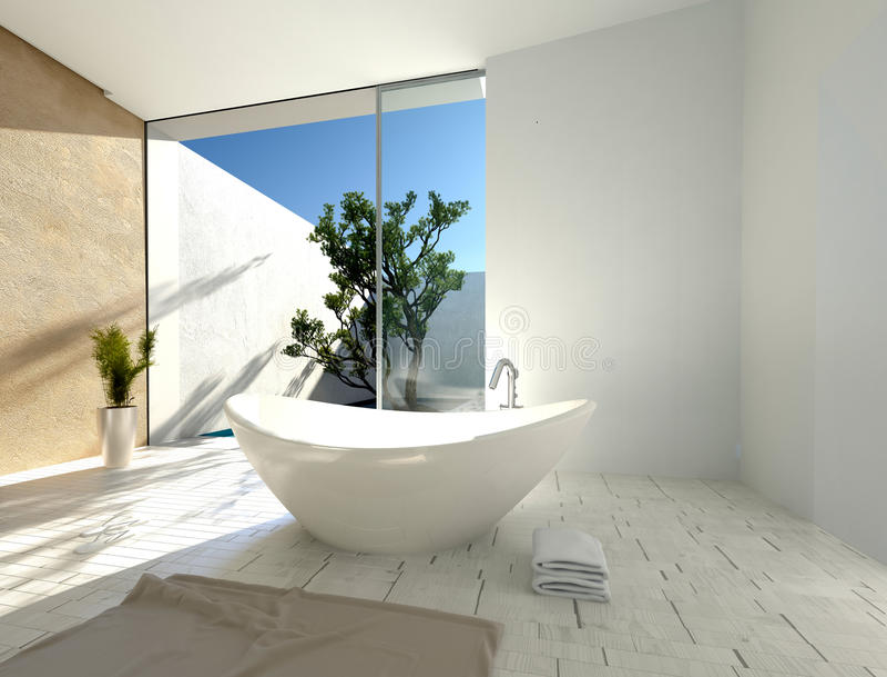 Стильная современная ладьевидная ванна бесплатная иллюстрация