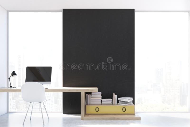 Стильное рабочее место с компьютером дома, передний бесплатная иллюстрация
