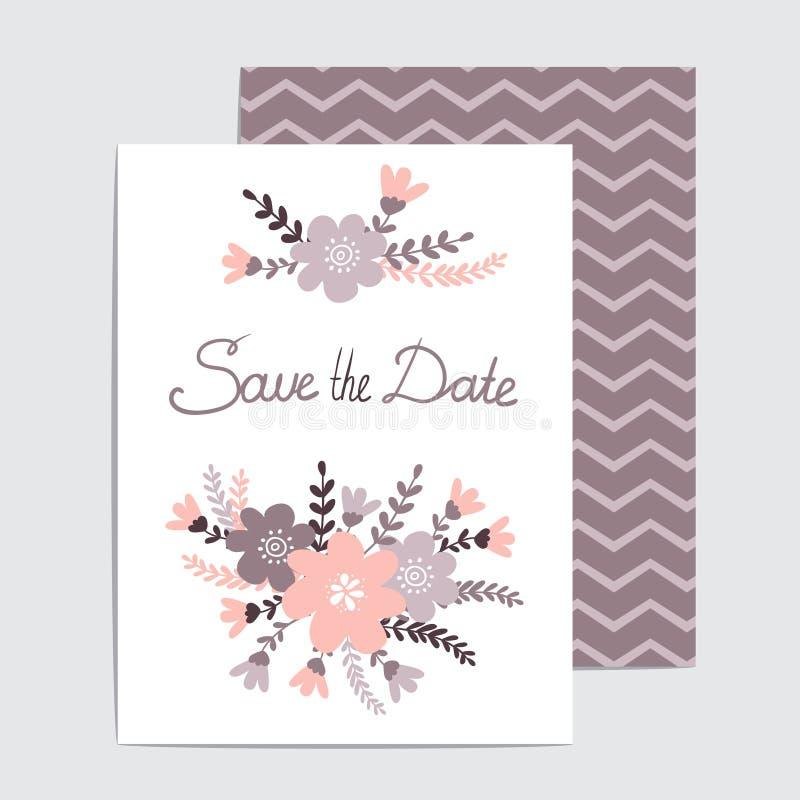 Стильное спасение карточка даты сделанная из винтажных цветков в векторе бесплатная иллюстрация
