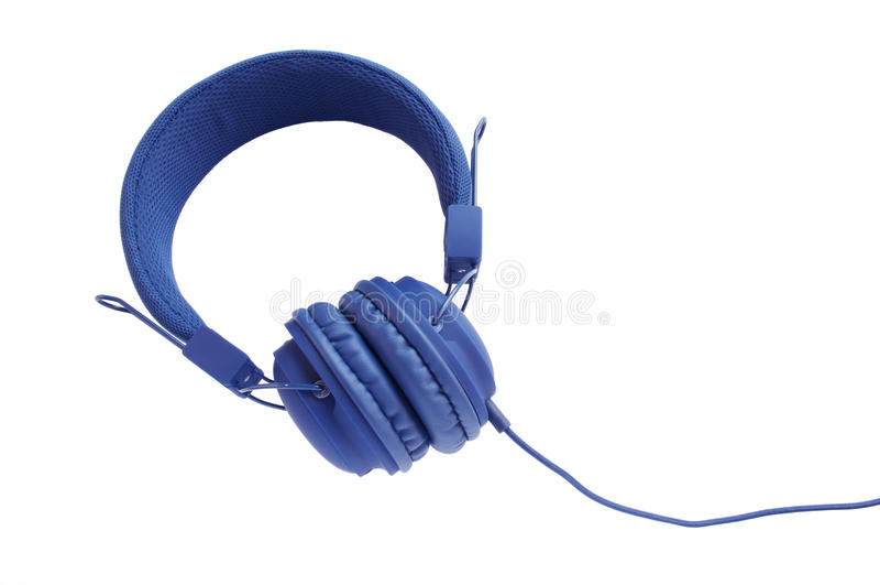 Стильные голубые наушники стоковое изображение