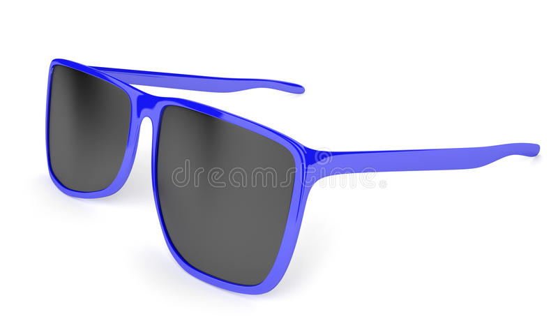 Стильные голубые солнечные очки с темнотой подкрашивали объективы для предохранения от солнца иллюстрация штока