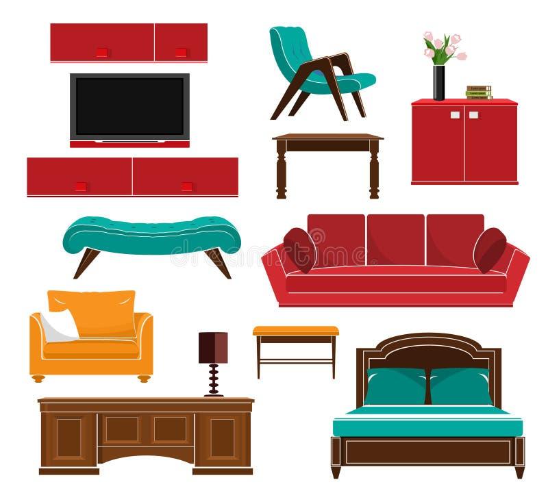 Стильные простые установленные значки мебели стиля: софа, таблица, кресло, стул, кухонный шкаф, кровать Плоский стиль иллюстрация вектора