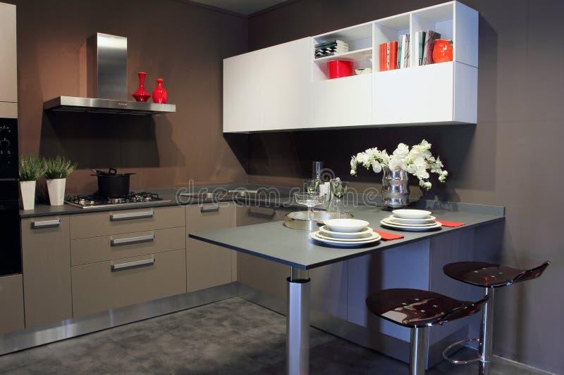 Стильные современные белизна и серый цвет кухни стоковые фото