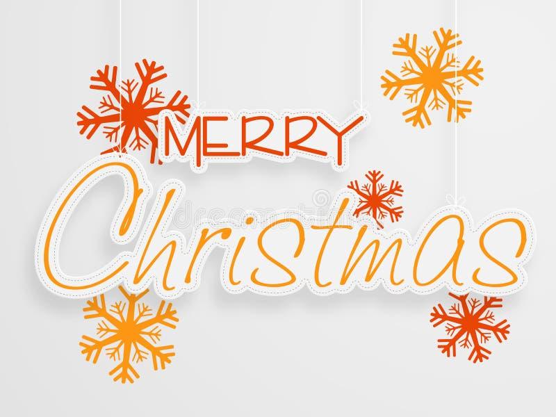 Стильный дизайн текста с снежинкой для с Рождеством Христовым celebrait иллюстрация вектора