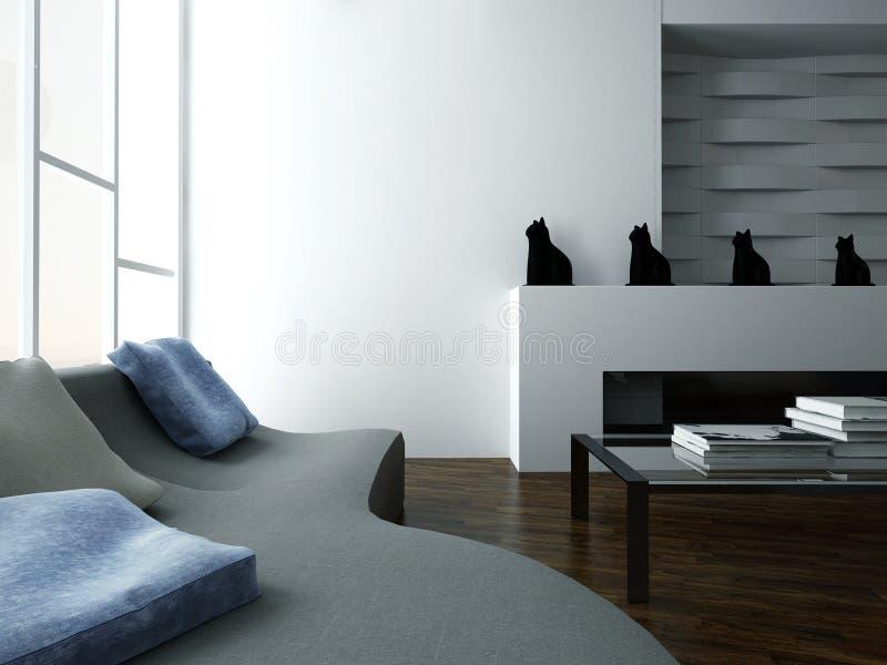 Стильный интерьер живущей комнаты с креслом и мебелью дизайна иллюстрация вектора