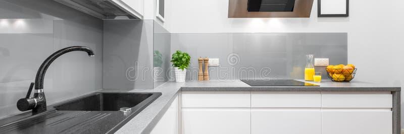 Стильный интерьер кухни в белизне стоковая фотография