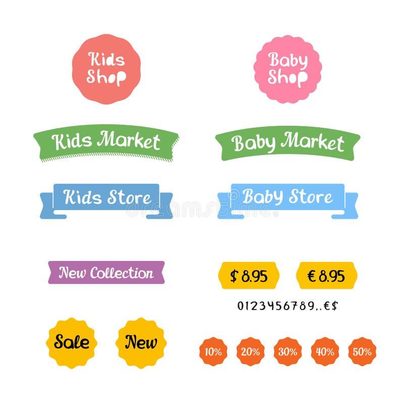 Стильный комплект логотипов, значки и стикеры для детей ходят по магазинам или рынок младенца иллюстрация вектора