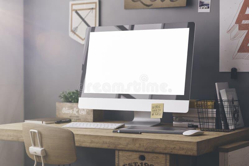 Стильный модель-макет рабочего места бесплатная иллюстрация