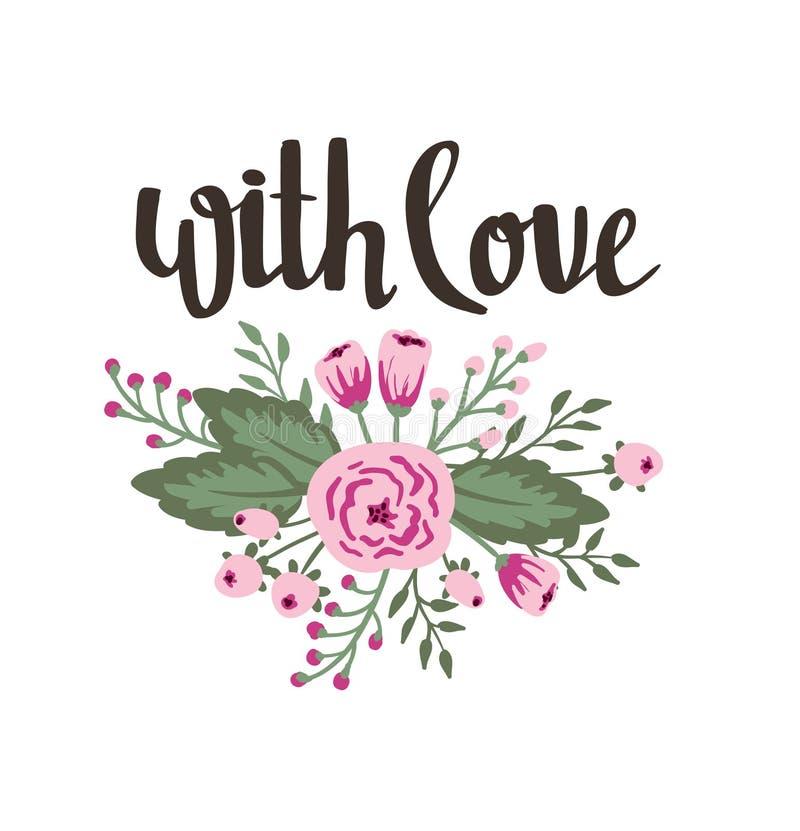 Стильный простой флористический дизайн с свадьбой, замужеством, сохраняет дату, день валентинки иллюстрация штока