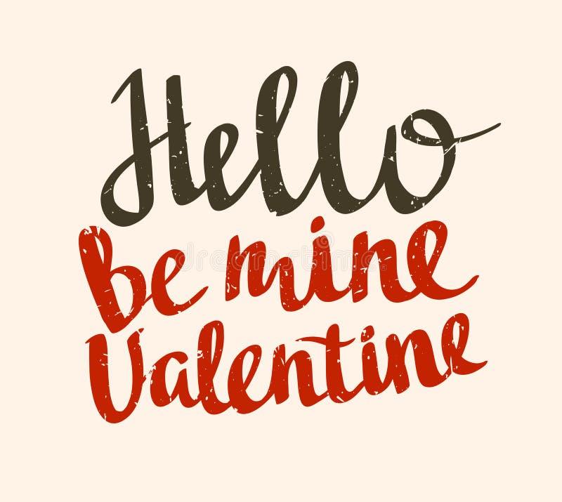 Стильный плакат влюбленности с винтажной литерностью вектора здравствуйте! валентинка шахты Карточка grunge вектора бесплатная иллюстрация