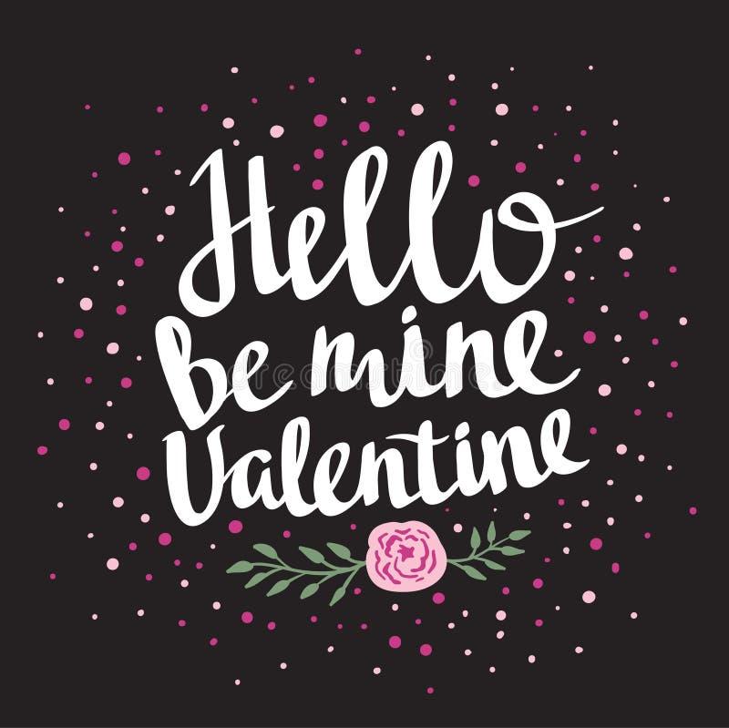 Стильный плакат влюбленности с точками и поднял Винтажная литерность вектора здравствуйте! валентинка шахты бесплатная иллюстрация