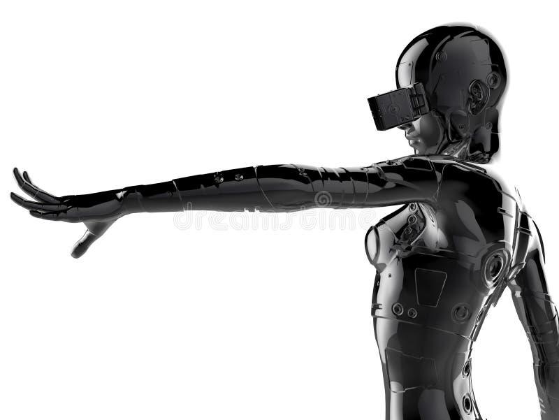 Стильный chromeplated киборг женщина иллюстрация 3d иллюстрация вектора