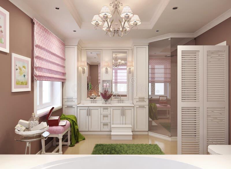 Стиль ванной комнаты детей классический иллюстрация штока