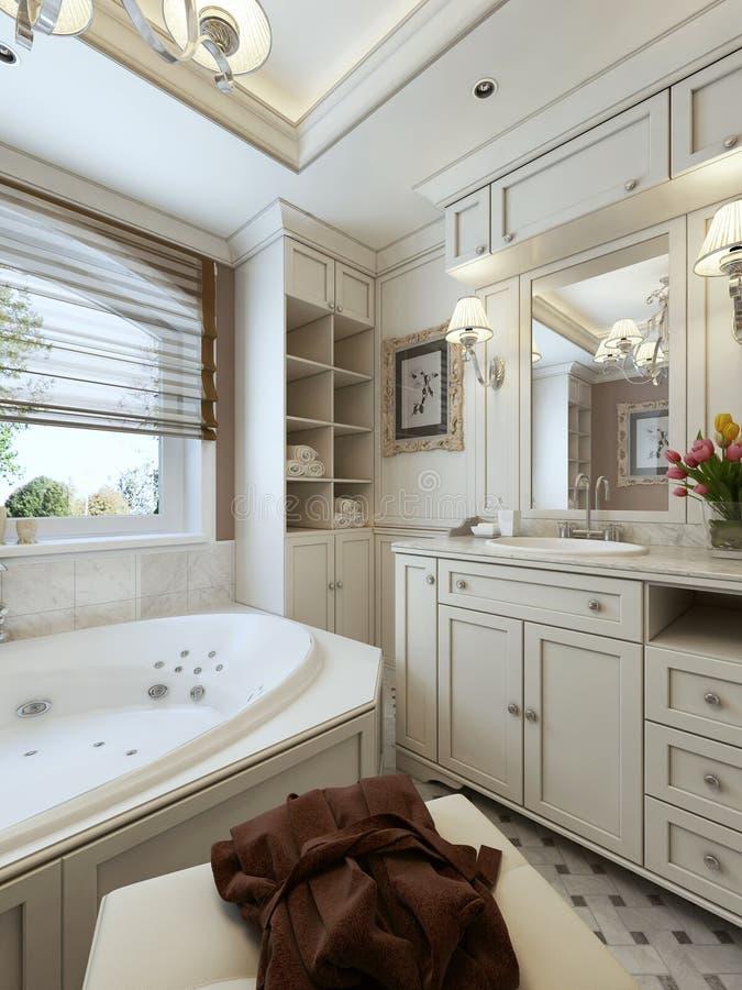 Стиль ванной комнаты семьи классический стоковые фото