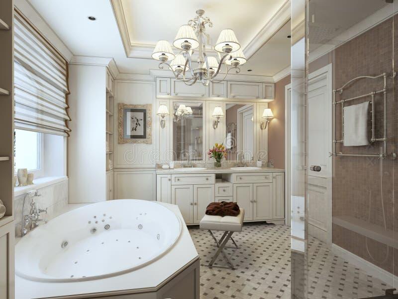 Стиль ванной комнаты семьи классический стоковая фотография rf