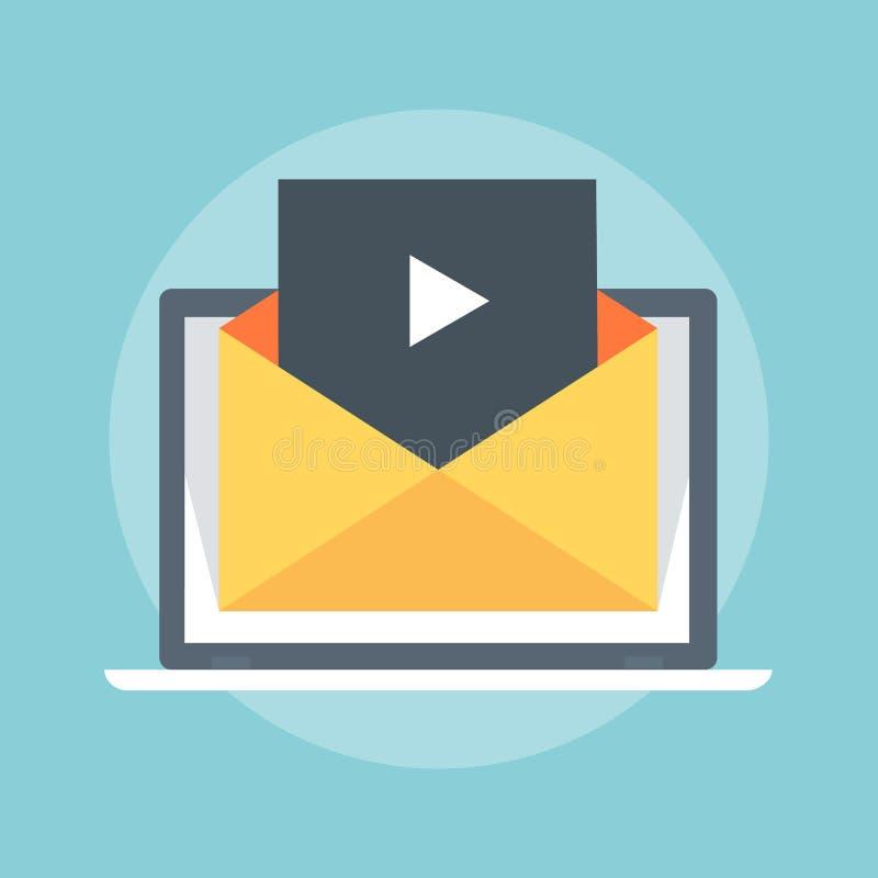 Стиль видео- маркетинга плоский, красочный, значок иллюстрация штока