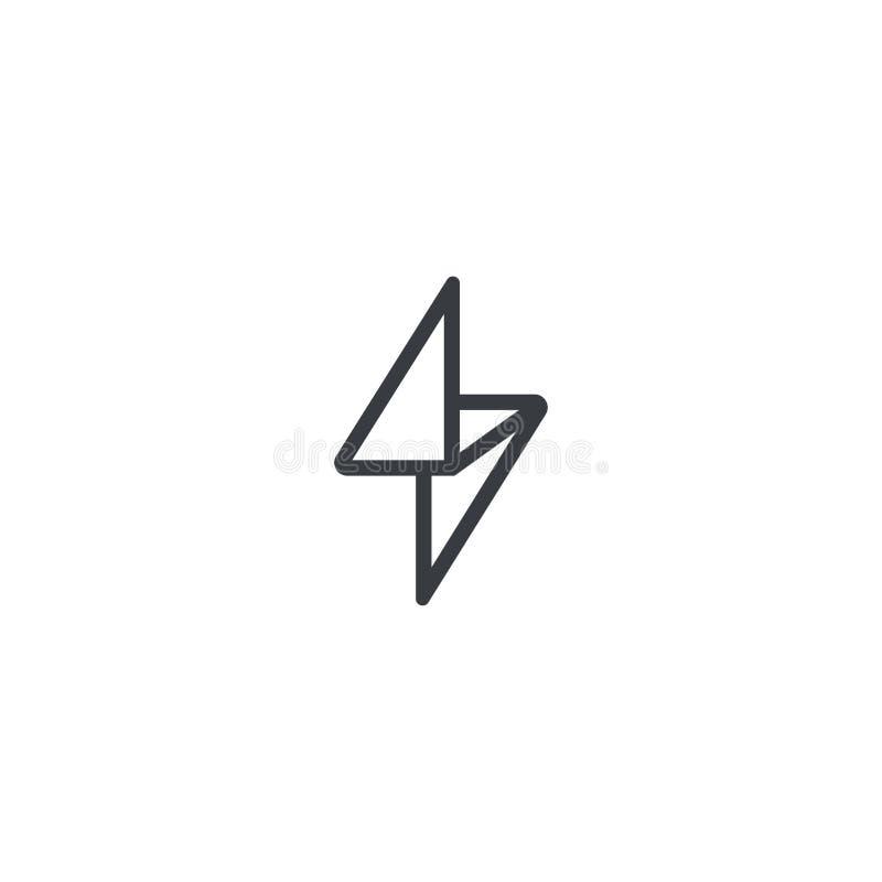 Стиль внезапного шаблона вектора дизайна логотипа линейный Символ Thunderbolt геометрический иллюстрация штока