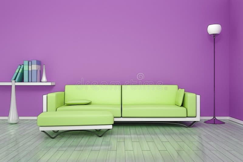 Стиль живущей комнаты шуточный иллюстрация штока