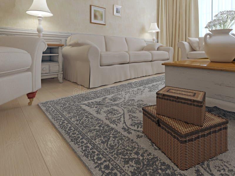 Стиль затрапезн-шика живущей комнаты иллюстрация вектора