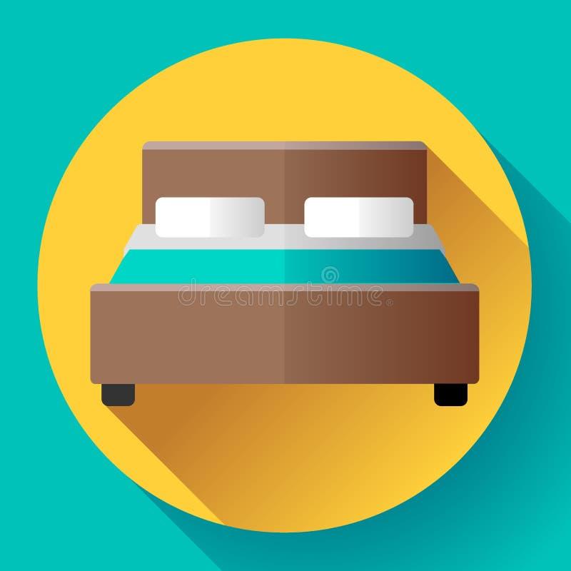 Стиль значка двуспальной кровати гостиницы плоский бесплатная иллюстрация
