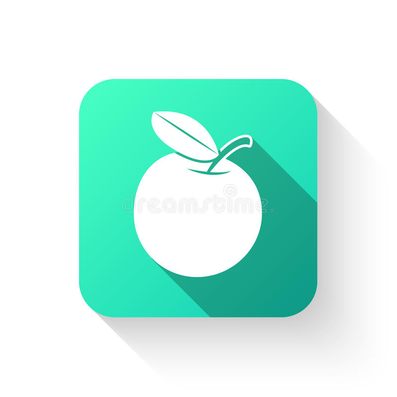 Стиль значка символа Яблока плоский на белой предпосылке иллюстрация вектора