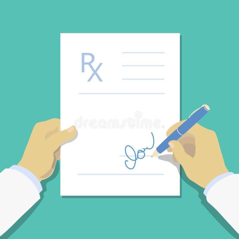 Стиль дизайна медицинской пусковой площадки рецепта плоский, форма Rx иллюстрация штока