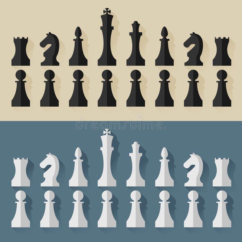 Стиль дизайна шахматных фигур плоский вектор иллюстрация вектора