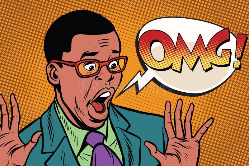 Стиль искусства шипучки бизнесмена чернокожего человека OMG иллюстрация вектора