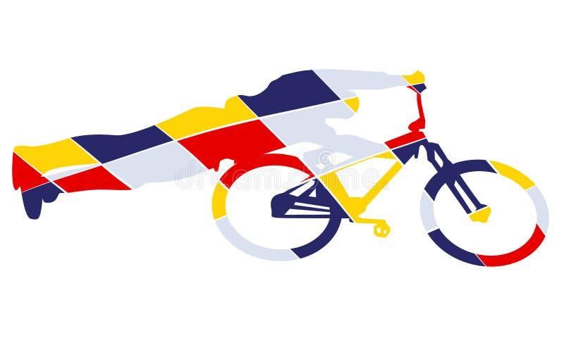 Стиль искусства шипучки силуэта велосипеда бесплатная иллюстрация