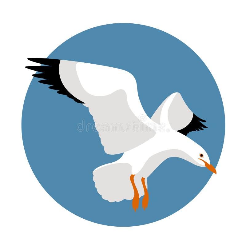 Стиль иллюстрации вектора чайки плоский иллюстрация штока