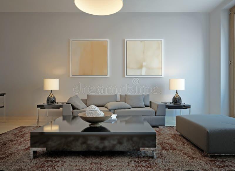Стиль минимализма живущей комнаты иллюстрация вектора